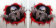 2x Skeleton Stickers Middle Finger Attitude Skulls for Bumper Helmet Laptop #35