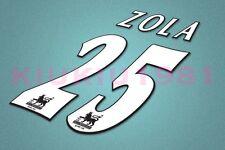 Chelsea Zola #25 PREMIER LEAGUE 97-06 White Name/Number Set