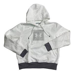 Under Armour Womens Sz XL White Fleece Lined Hoodie Hooded Kangaroo Sweatshirt