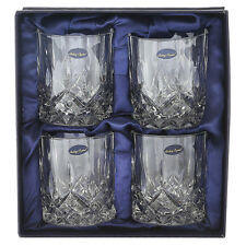 Double Crystal Whiskey Glass 4pc Set Scotch Mixed Drink Lead Free Bar Ware 9oz