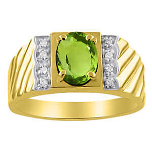 Mens Diamond & Peridot Ring 14K Yellow Gold