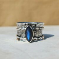 Labradorite Ring Solid 925 Sterling Silver Spinner Ring Meditation Jewelry A379