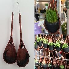 HANGING BAMBOO POT PLANTER FLOWER ORCHID VANDA  BASKET VERTICAL GARDEN WOVEN