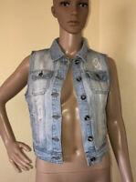 Women's Ci Cono Distressed  Faded Blue Jean Denim Jacket Vest Size S Light Wash