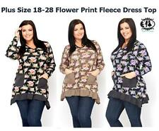 LADIES CURVE PLUS SIZE 18-28 FLOWER FLEECE TUNIC DRESS TOP T-SHIRT BLOUSE WINTER