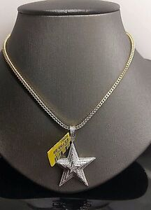 """Men's 10K Yellow Gold Diamond Charm Pendent With 26""""Franco Chain 5 Point Star"""