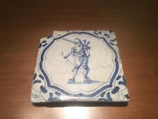 Antique Dutch Tile 17th century delft musketier delfs delfts tegel soldier wanli