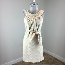 Etcetera S 4 Gold Brocade Sheath dress Cocktail Formal Sleeveless Excellent WOW