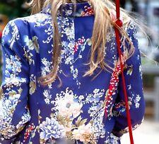 ZARA WOMAN BLAZER PRINT FLORAL BLUE COAT JACKET ORIENTAL FLOWER SILKY LOVELY - S