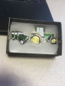 pin badges Green Tractor And Green Land Rover Lovely Gift