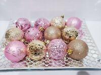 "12 Shabby Chic Pink Gold Glitter Shiny Christmas Ball Ornaments Decor 2.75"""
