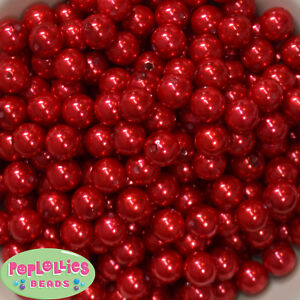 12mm Red Acrylic Faux Pearl Bubblegum Beads Lot 40 pc. chunky gumball