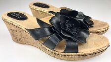 BOC BORN CONCEPT Women's Cork Wedge Sandals Heels Clementine Black Flower 9 40.5