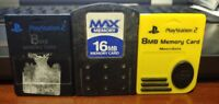 Set of 3 - Official Original Sony PS2 Playstation 2 Memory Cards 8 mb Lot Works_