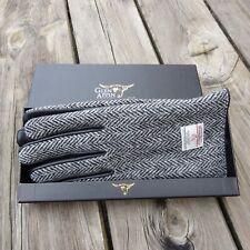 Gents Authentic Harris Tweed And Black Leather Gloves Grey Herringbone COL 4