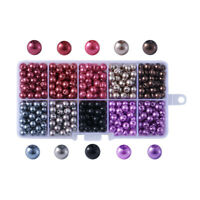 500pcs/Box Glass Pearl Beads 15-Color Tiny Loose Beads Violet Satin Luster 6mm
