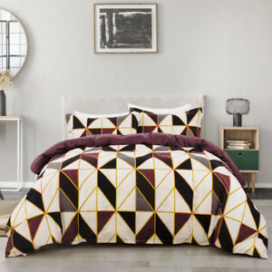 Geometric Plaid Bedding Set Duvet Cover and Pillowcase Single Double King
