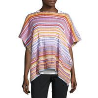 Missoni Pink Purple Zig Zag Large Cotton Knit Orange Label Swing Poncho Wrap NWT