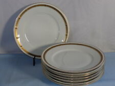 Hutschenreuther Selb China Dinnerware White Cobalt Gold Leaf Dinner Plates (8)