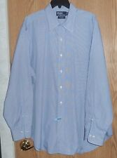 POLO RALPH LAUREN - BLUE PINSTRIPE LONG-SLEEVE DRESS SHIRT - MENS 17.5/34-35