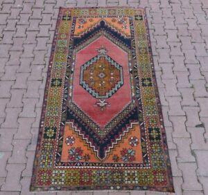 Vintage Medallion Design Turkish Rug Hand Knotted Oushak Oriental Carpet 4x7 ft