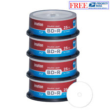 100 Pack Imation Blu-ray BD-R DL Dual Layer 6X 50GB White Inkjet Printable Disc