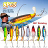 8X Fishing Lures Plastics Fly Bait 3D Fish Eye Flat Rings 2 Treble Hooks 10/14CM