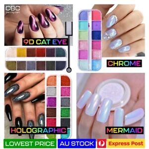 9D Cat Eye Chrome Holographic Mirror Effect Powder HIGH Pigment Glitter Nail Art