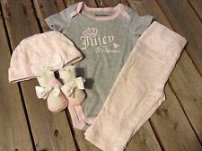 Juicy Couture Baby 4 pc Layette creeper pants hat & socks 6 / 9 m months new