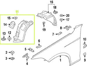 BMW X1 E84 13 - 15 OEM Fender Liner Splash Guard 51717290159 Fr. Sec. Front Left