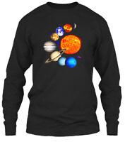 Solar System Sun Planets Milky Way Galaxy Science Gildan Long Sleeve Tee T-Shirt