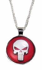 Marvel Comics Punisher Skull Logo Glass Domed Necklace PENDANT