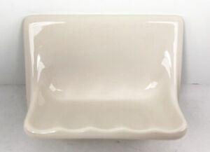 Porcelain Tile Soap Dish Holder BEIGE GLOSSY USA Vintage Style #8