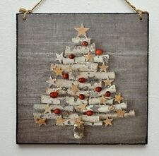 Decorative wall hanging plaque/picture rustic Christmas tree on the wood,star