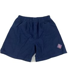 Vtg 90s WILSON athletic Cotton Shorts Navy pockets Drawstring Men's