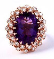 10.25 Carat Natural Amethyst and Diamonds 14K Rose Gold Women Ring