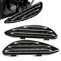 Front CNC Black Edge Cut Driver Stretched Floorboards For Harley Touring FL CVO