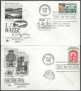 PAIR FDC'S - WATER CONSERVATION & MEXICAN INDEPENDENCE - ART CRAFT CACHETS!