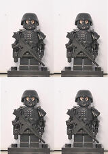 4 X SWAT soldier minifigs Black with weapon,helmet,armor, fit with other brands