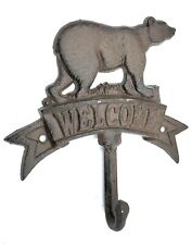 Bear Welcome Sign Plaque With Coat Key Hook Rustic Cabin Animal Wildlife Decor