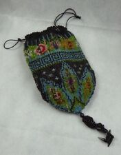 a Fine Antique Bead work Purse / Bag Greek Key ,French Jet & Crochet - c1900