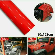 Pellicola Lucida Adesiva Rossa Rosso 30x152Cm Wrapping Auto Moto Ecc Vinyl Red