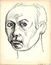 MALE PORTRAIT Vintage ART Drawing MID-CENTURY MODERN Painting Eames / Gay Int.