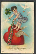 DATE 1906 PPC* VINTAGE VALENTINE FLYING HEART W/GOLD WINGS HAS STAINS & WEAR