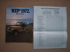 JEEP 1972 CJ 5 6 SALES BROCHURE FRANCIA FRANCAIS PROSPEKT + SPECIFICATIONS SHEET