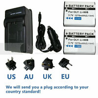 Battery 2-Pack + Charger for Olympus Stylus Tough TG-1 iHS, TG-2 iHS, TG-3, TG-4