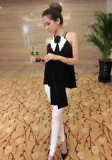 Korean Women 3D Flower Chiffon Halter Top- Black- XS S M