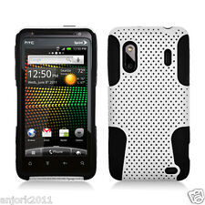 HTC Evo Design 4G Hero S Mesh Hybrid Case Skin Cover Accessory White Black