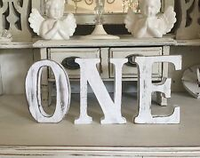 Shabby Chic Letters white  ONE NAME WORD LARGE FREESTANDING 15CM TALL PHOTO PROP
