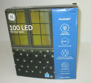 GE 100 LED Net Style Lights StayBright Warm White Wedding Party Christmas 5'x4'